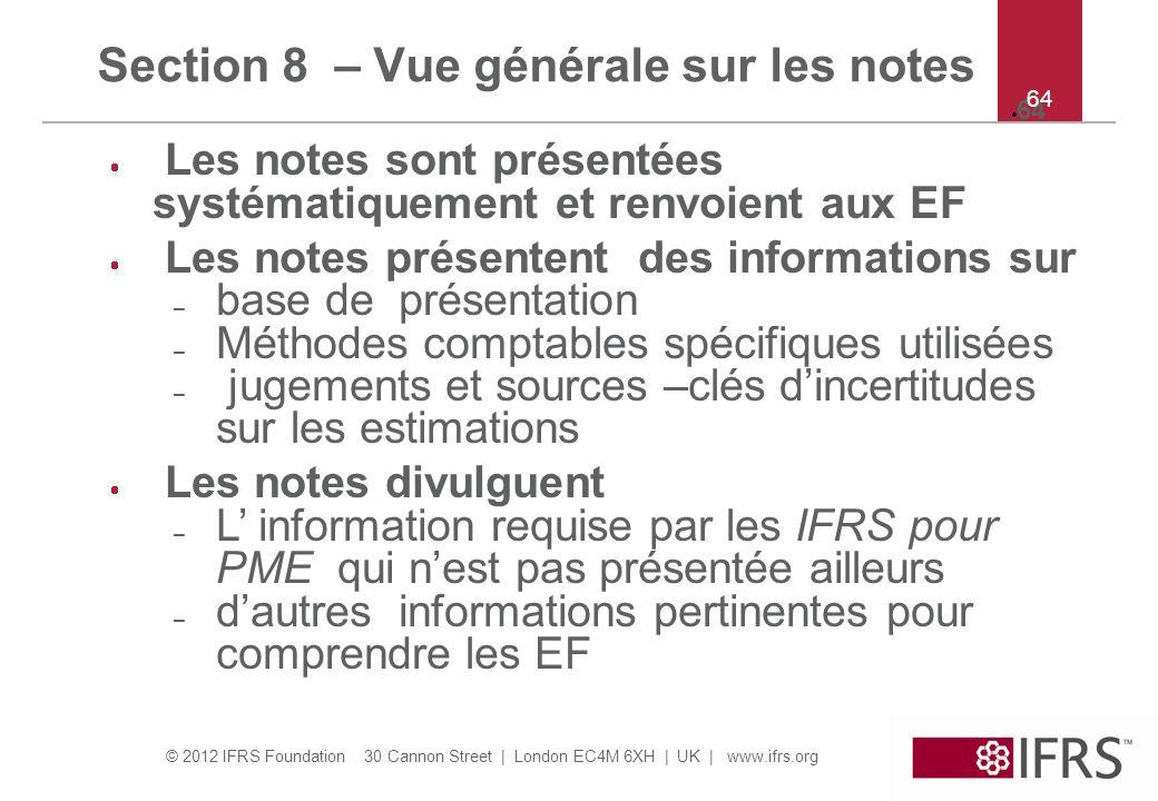 Section 8 – Vue générale sur les notes