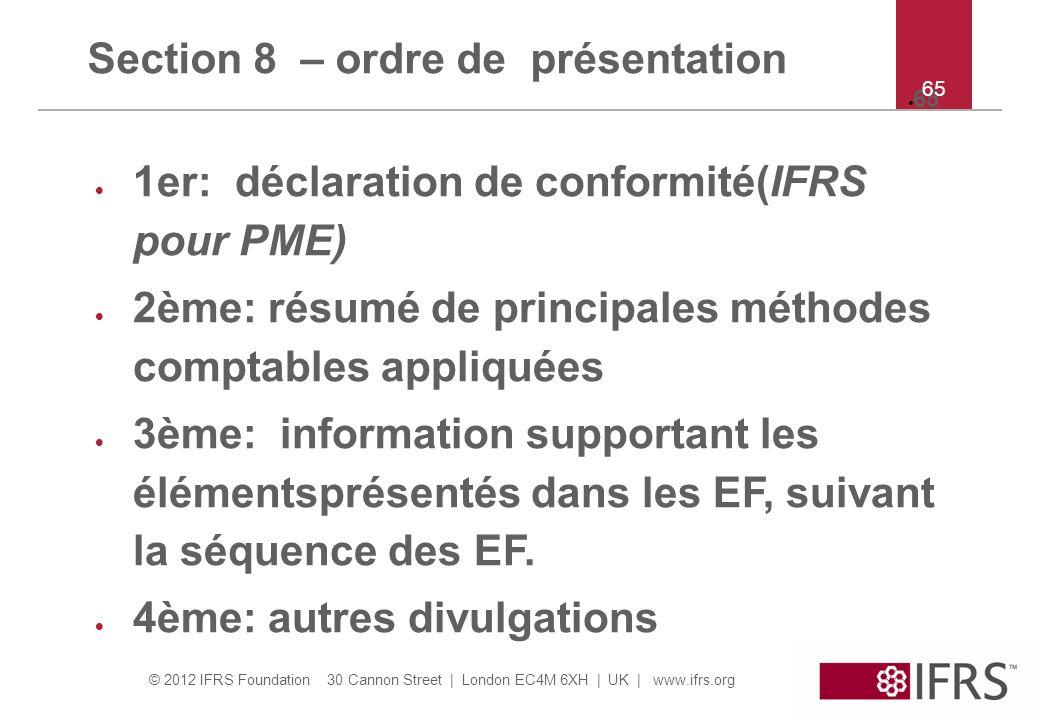 Section 8 – ordre de présentation