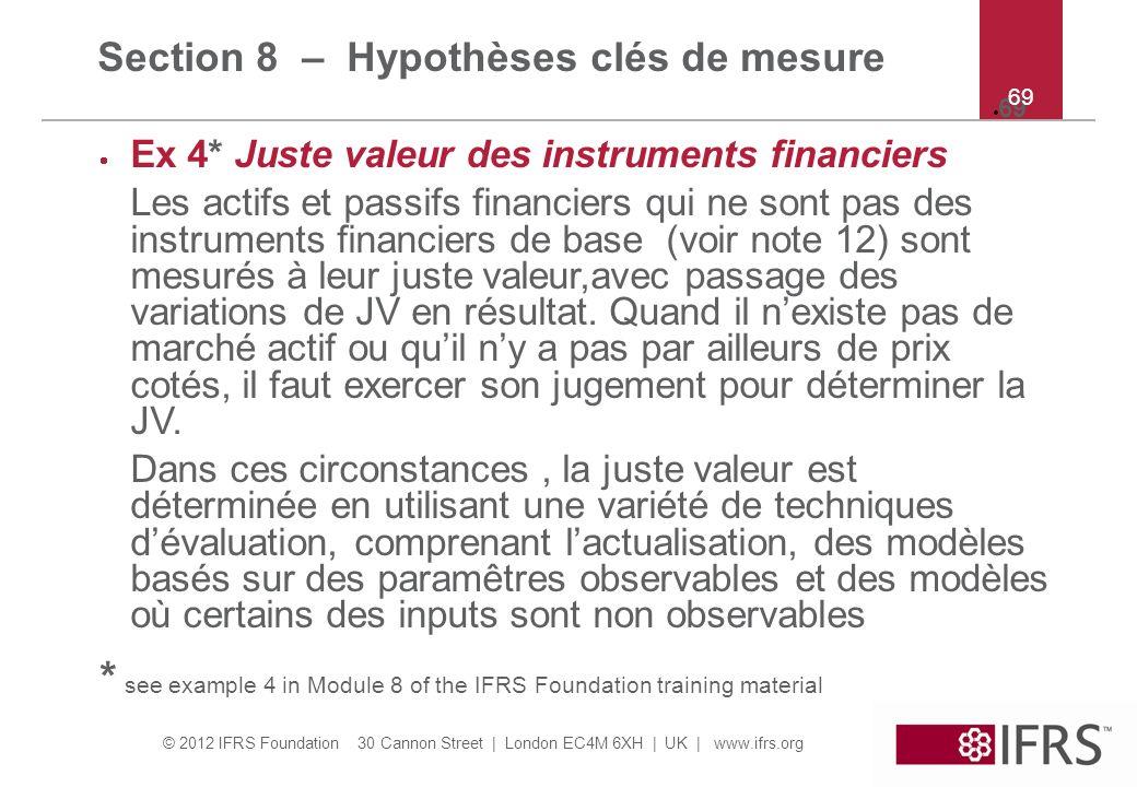 Section 8 – Hypothèses clés de mesure