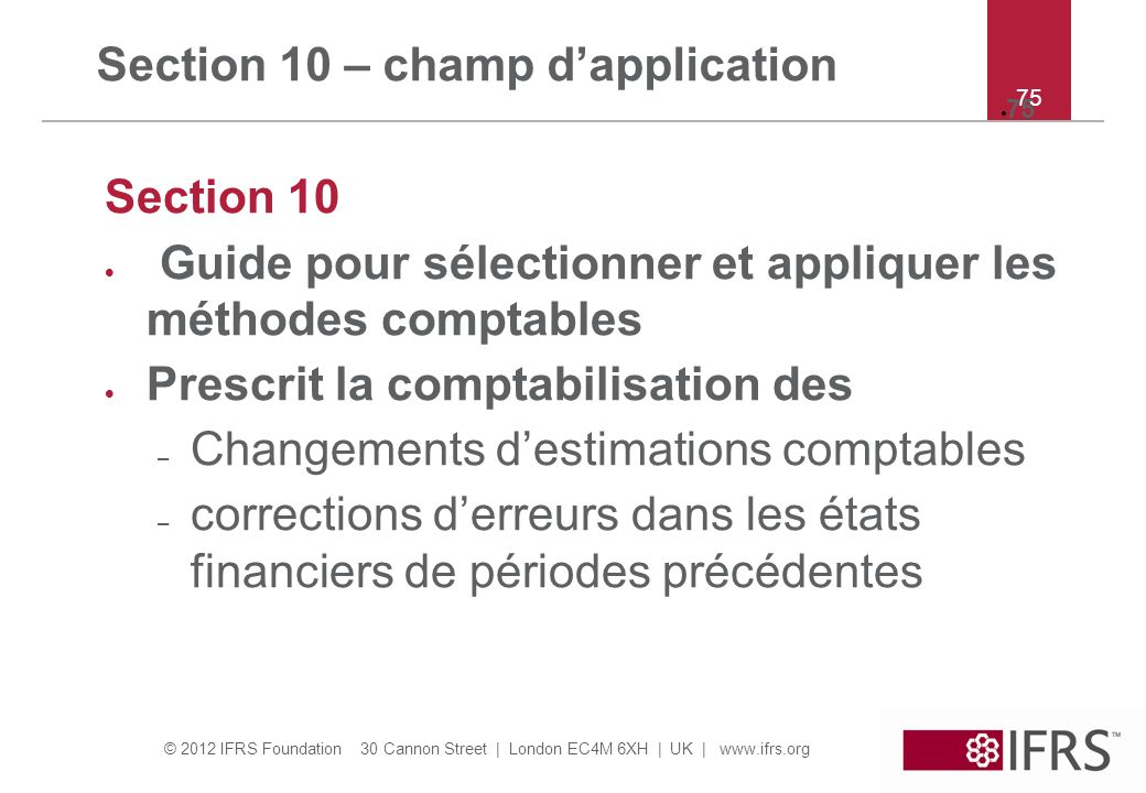 Section 10 – champ d'application