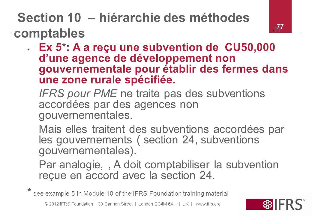 Section 10 – hiérarchie des méthodes comptables