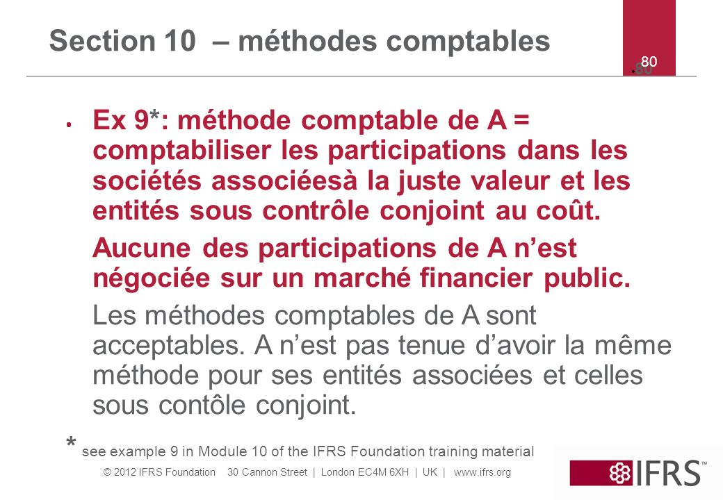 Section 10 – méthodes comptables