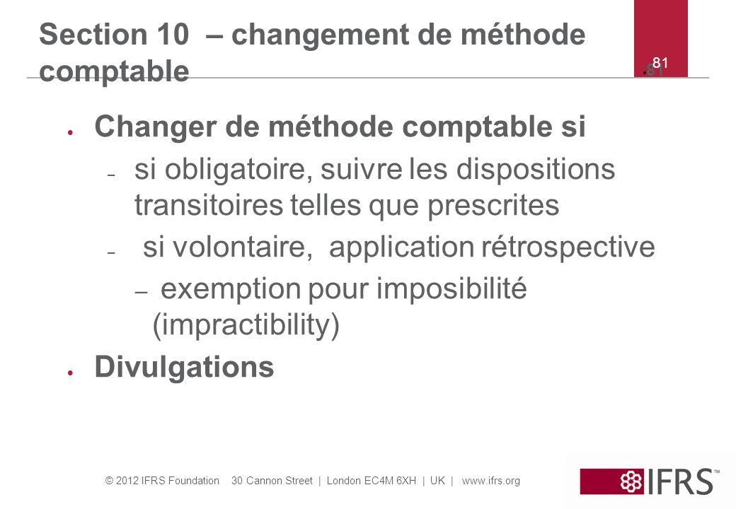 Section 10 – changement de méthode comptable