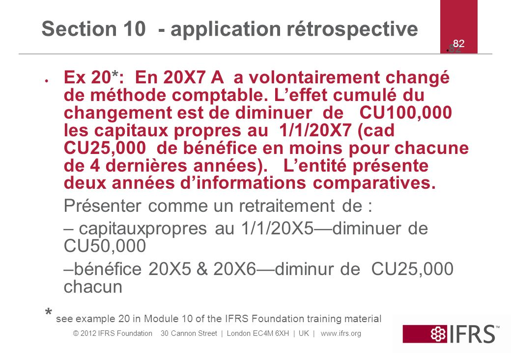 Section 10 - application rétrospective