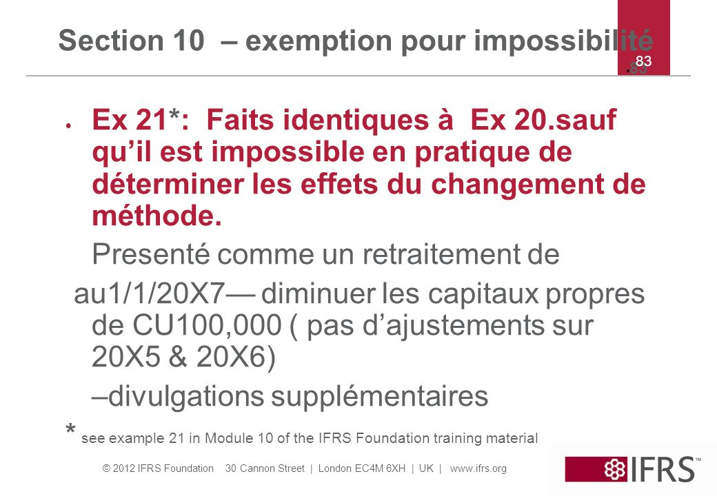 Section 10 – exemption pour impossibilité