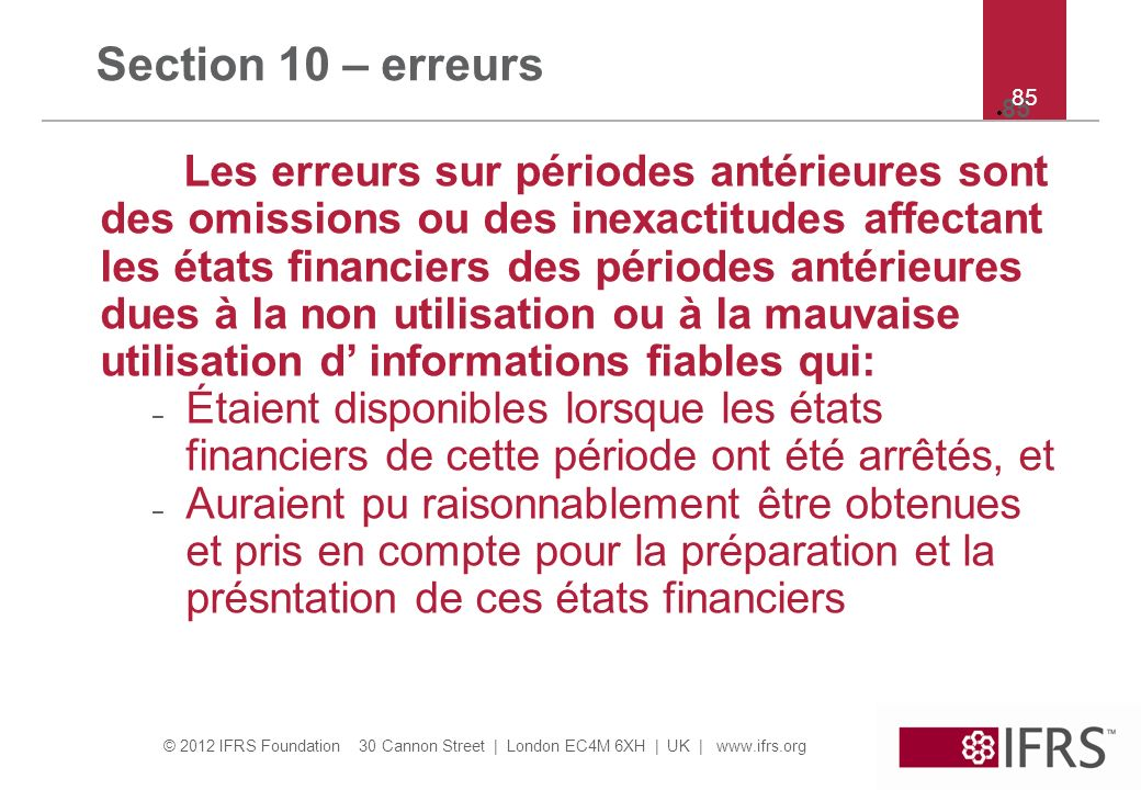 Section 10 – erreurs 85. 85.