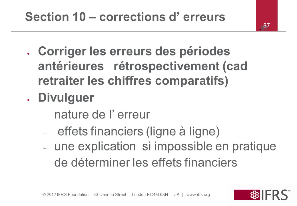 Section 10 – corrections d' erreurs