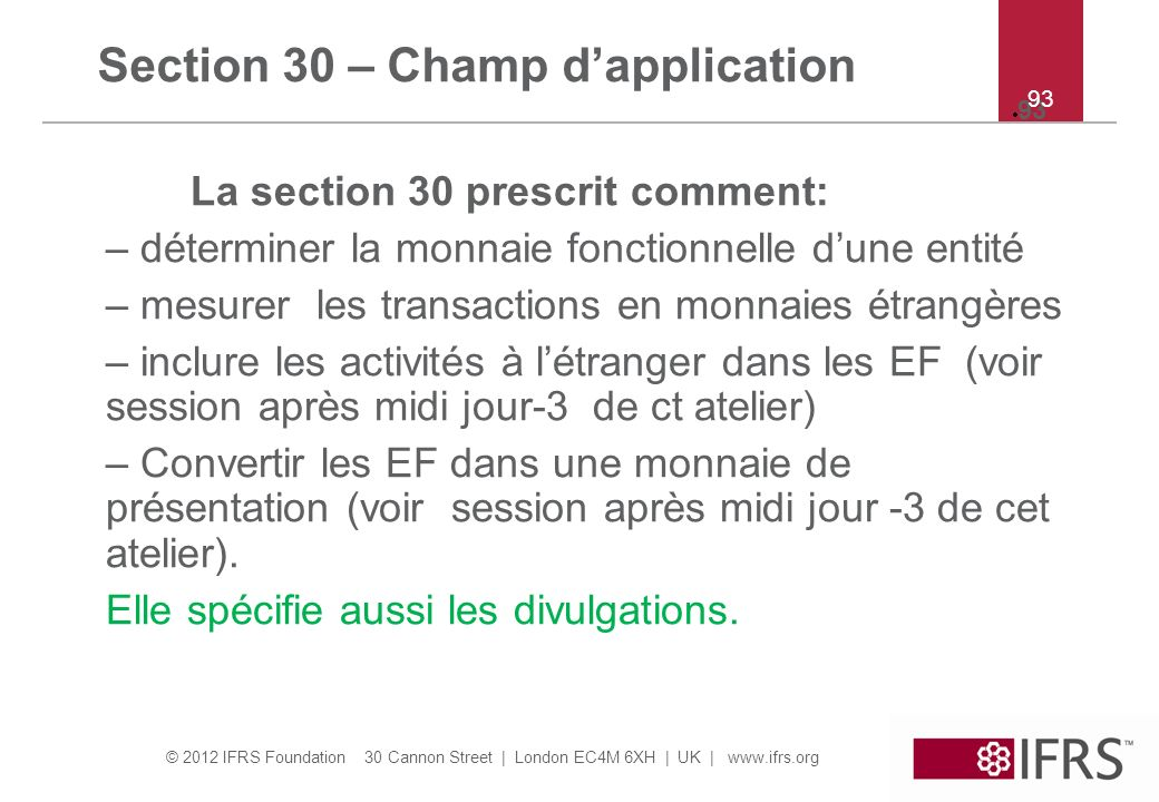 Section 30 – Champ d'application