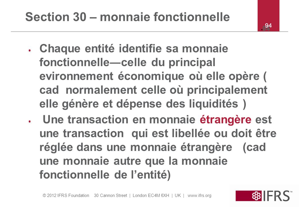 Section 30 – monnaie fonctionnelle