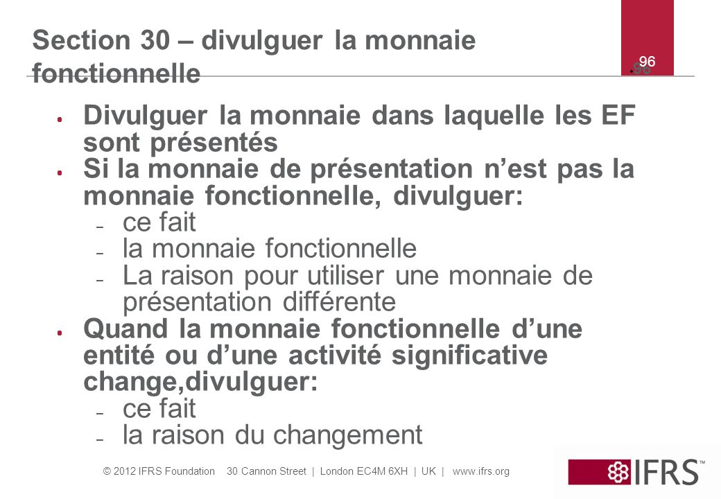 Section 30 – divulguer la monnaie fonctionnelle