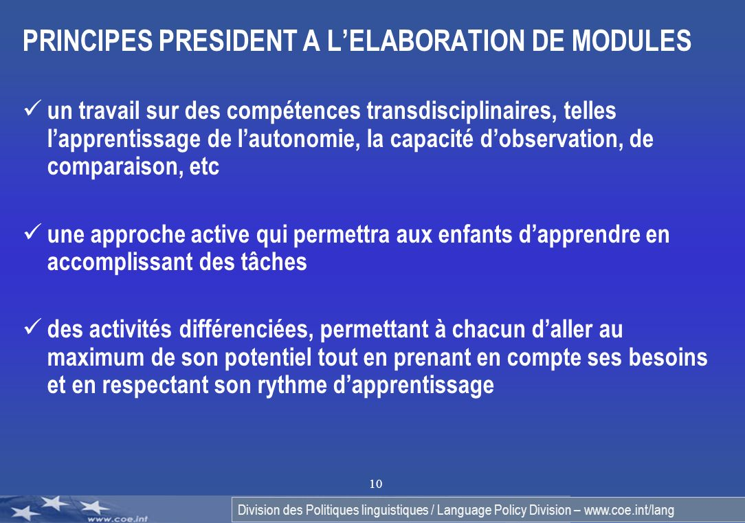 PRINCIPES PRESIDENT A L'ELABORATION DE MODULES