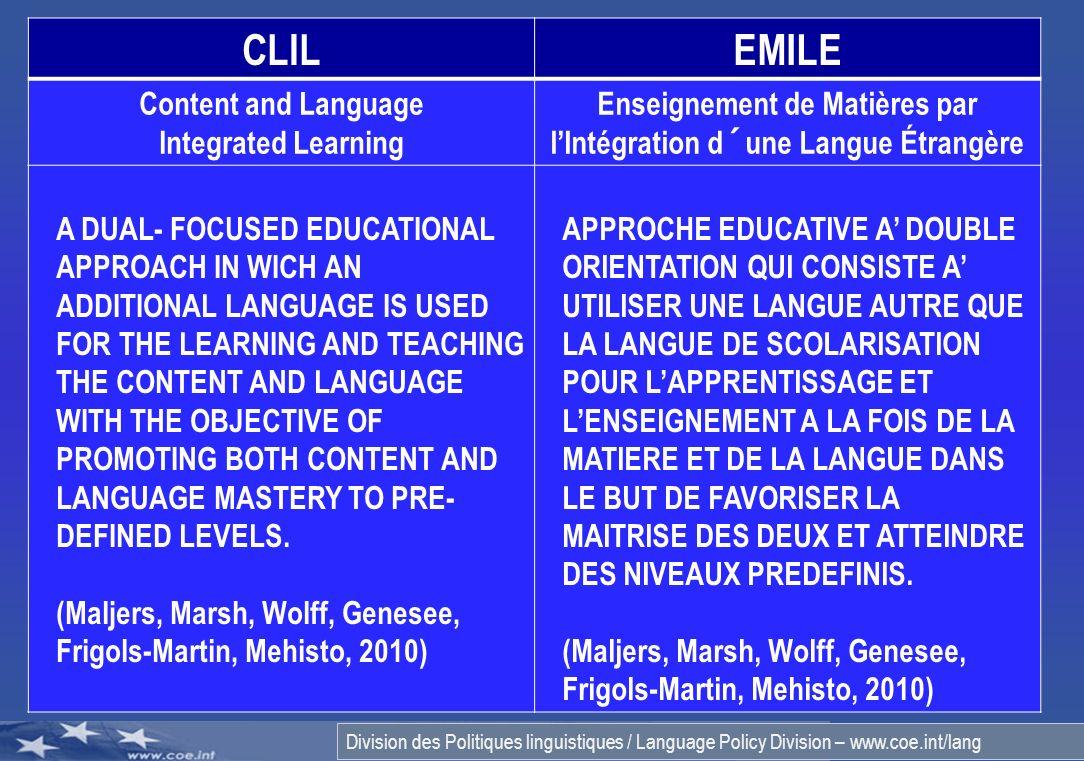 Enseignement de Matières par l'Intégration d´une Langue Étrangère