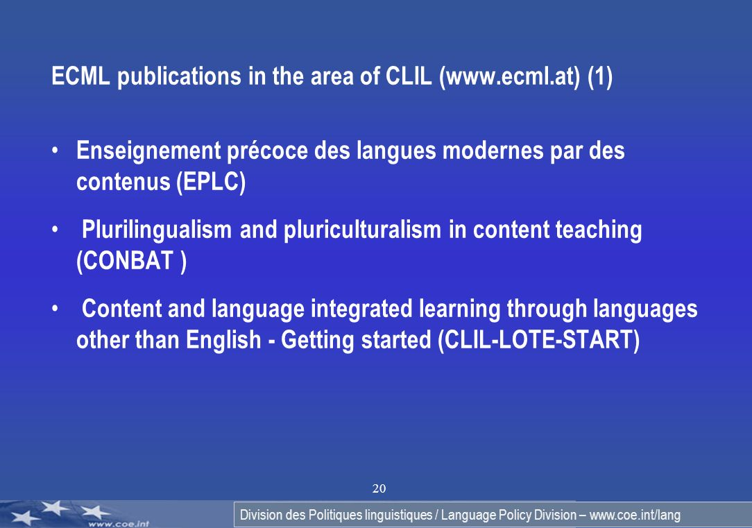 ECML publications in the area of CLIL (www.ecml.at) (1)