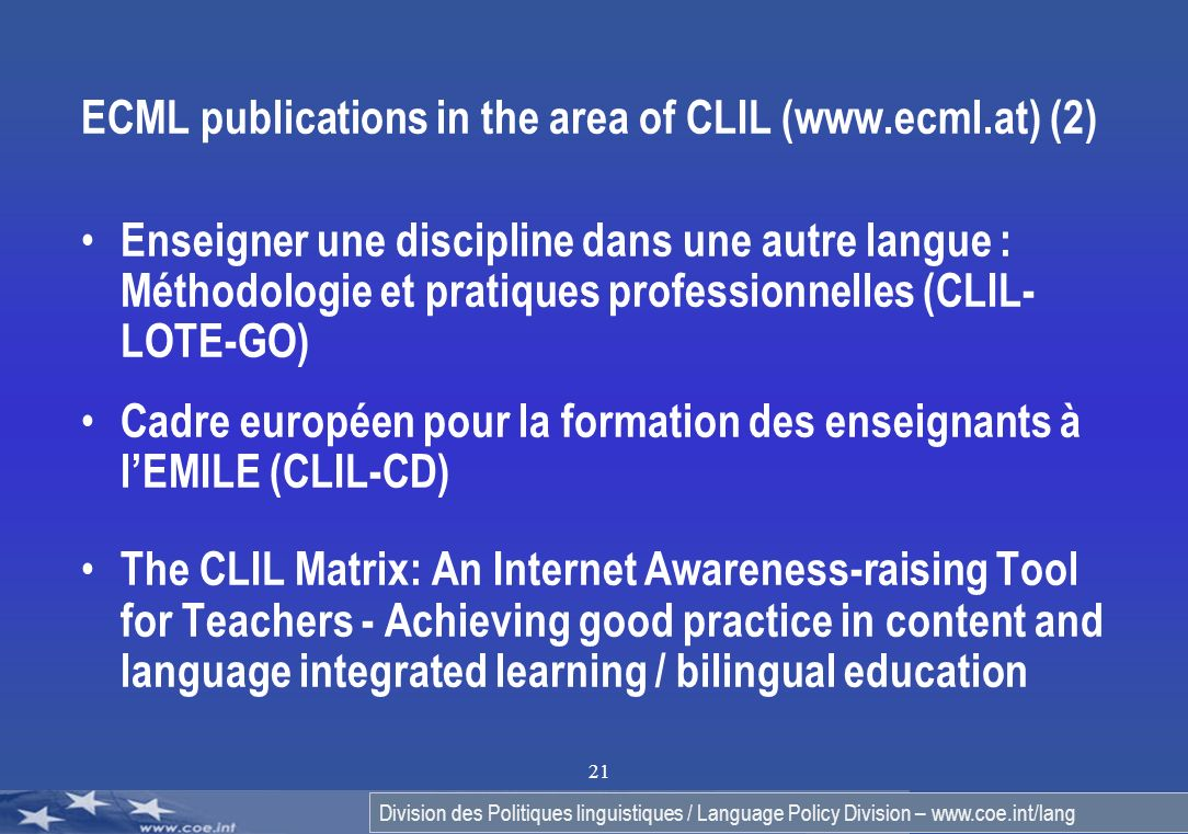 ECML publications in the area of CLIL (www.ecml.at) (2)