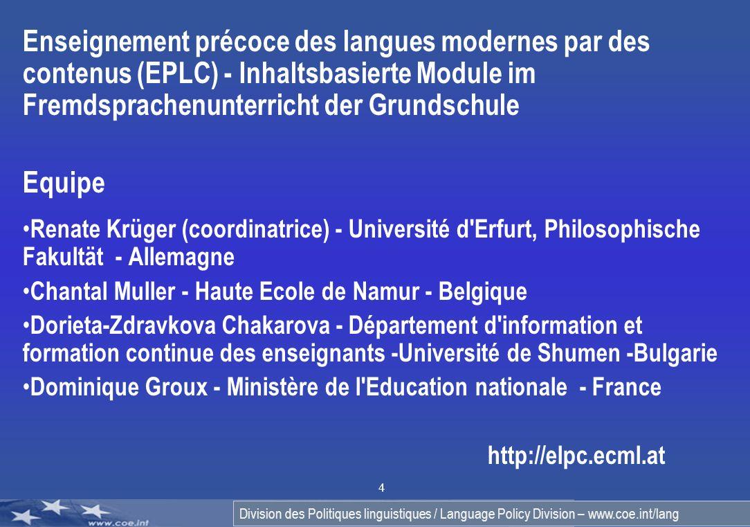 Enseignement précoce des langues modernes par des contenus (EPLC) - Inhaltsbasierte Module im Fremdsprachenunterricht der Grundschule
