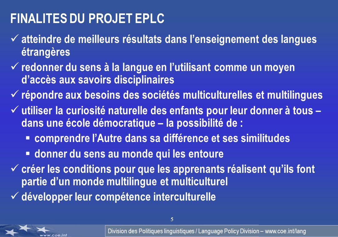 FINALITES DU PROJET EPLC