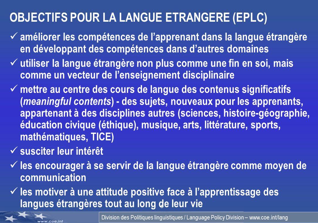 OBJECTIFS POUR LA LANGUE ETRANGERE (EPLC)