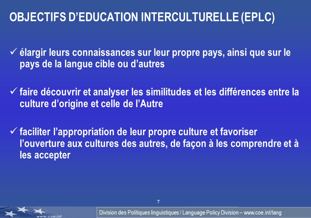OBJECTIFS D'EDUCATION INTERCULTURELLE (EPLC)
