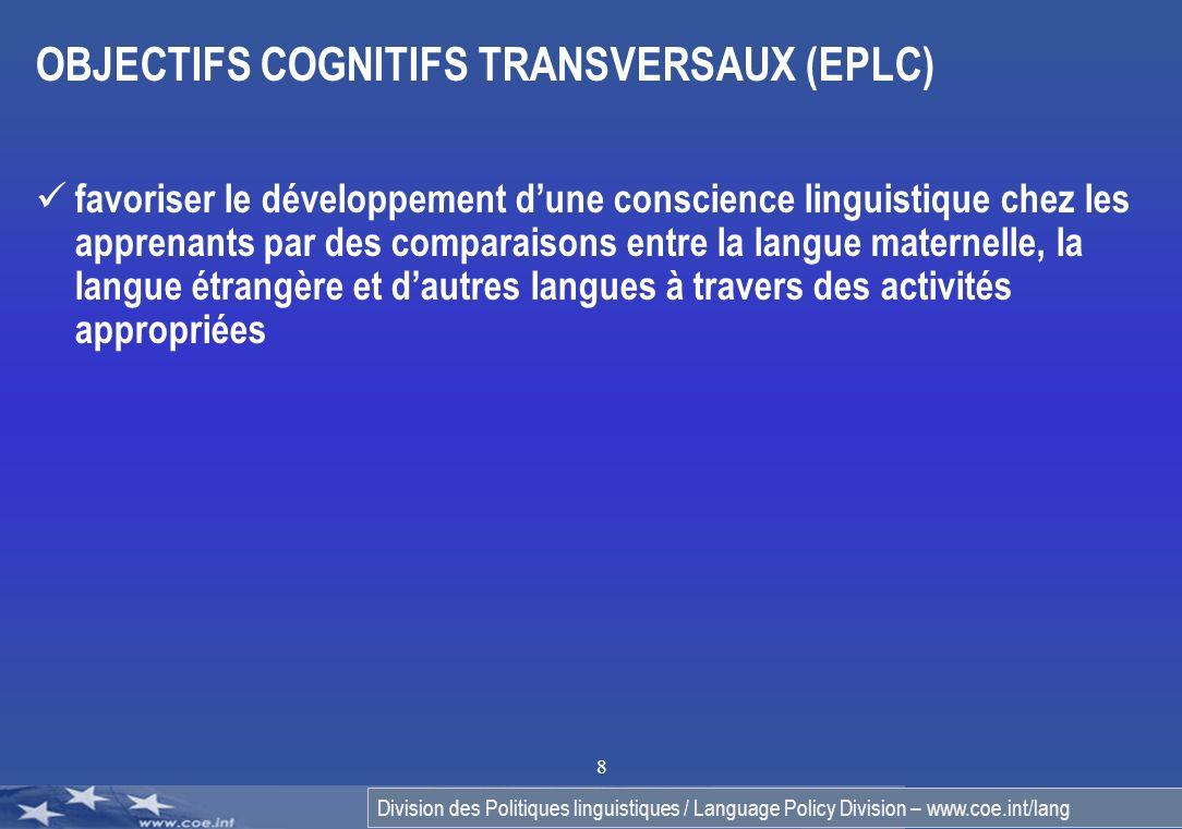 OBJECTIFS COGNITIFS TRANSVERSAUX (EPLC)