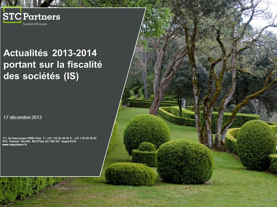 Actualités 2013-2014 portant sur la fiscalité des sociétés (IS)