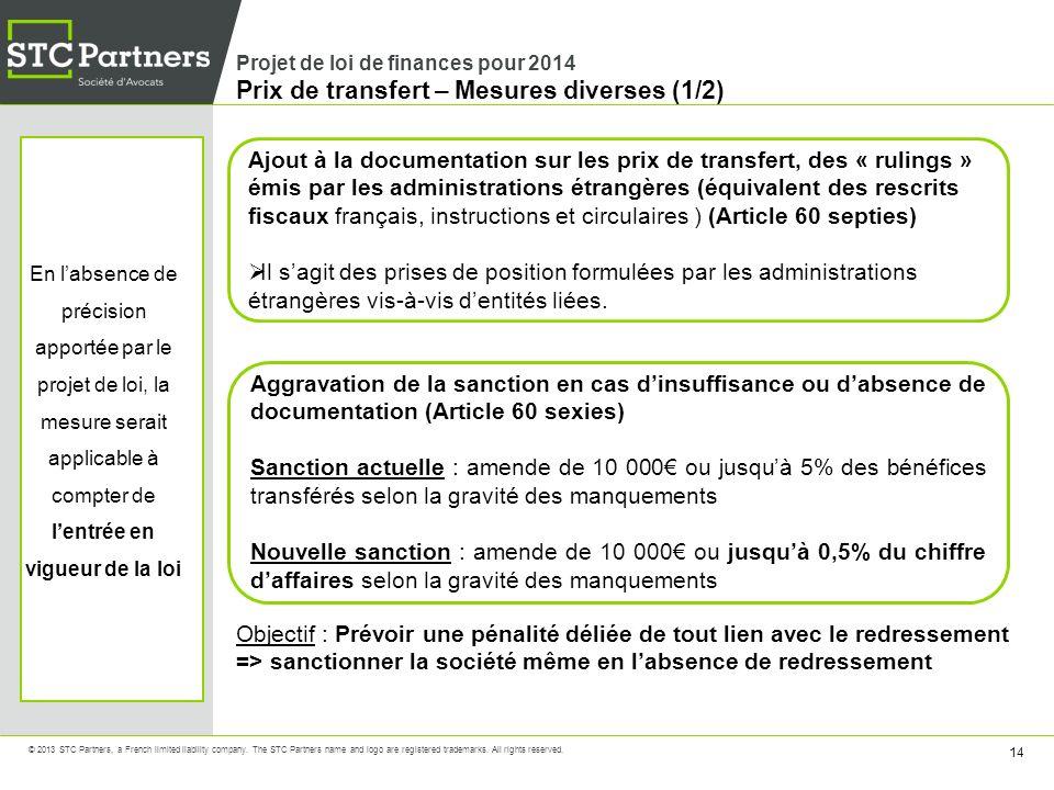 Projet de loi de finances pour 2014 Prix de transfert – Mesures diverses (1/2)