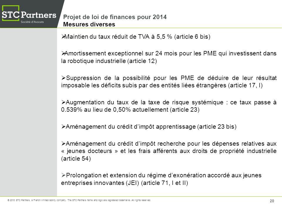 Projet de loi de finances pour 2014 Mesures diverses