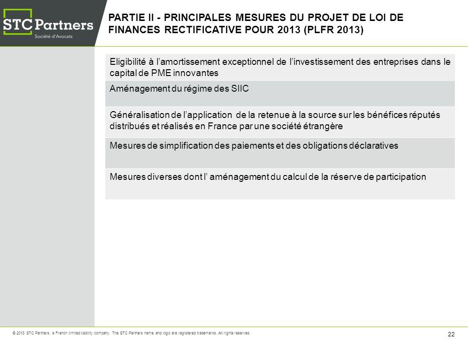 PARTIE II - PRINCIPALES MESURES DU PROJET DE LOI DE FINANCES RECTIFICATIVE POUR 2013 (PLFR 2013)