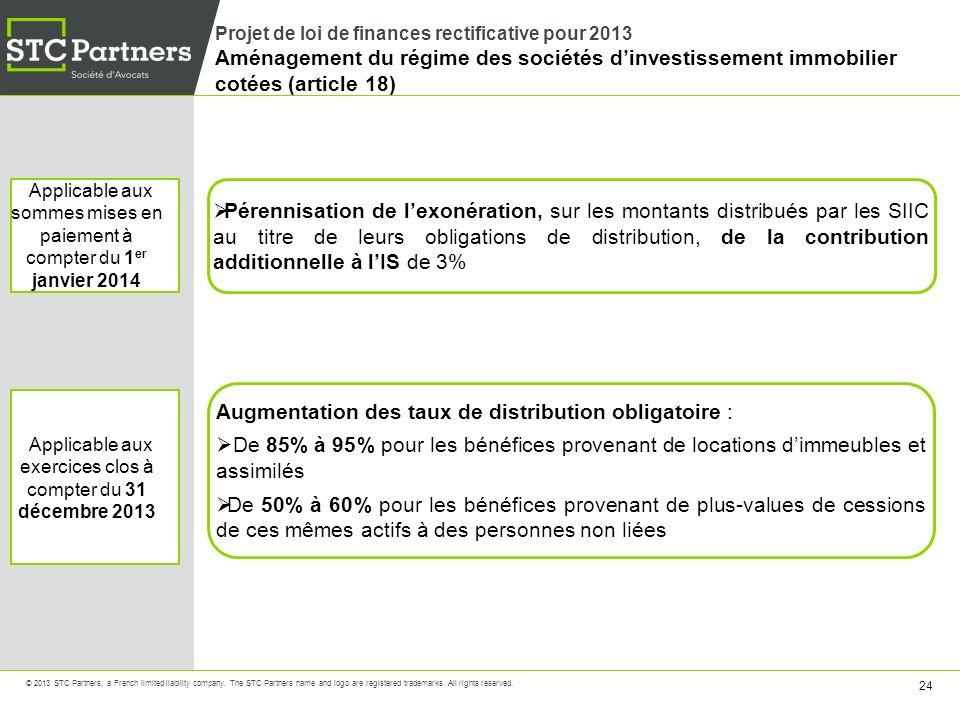 Augmentation des taux de distribution obligatoire :