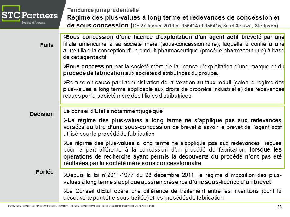 Tendance jurisprudentielle Régime des plus-values à long terme et redevances de concession et de sous concession (CE 27 février 2013 n° 356414 et 356415, 8e et 3e s.-s., Sté Ipsen)