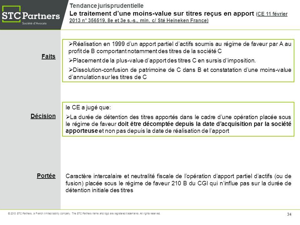 Tendance jurisprudentielle Le traitement d'une moins-value sur titres reçus en apport (CE 11 février 2013 n° 356519, 8e et 3e s.-s., min. c/ Sté Heineken France)
