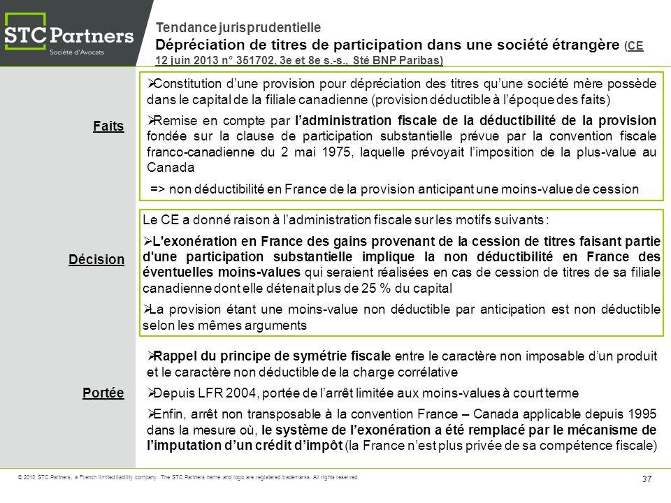 Tendance jurisprudentielle Dépréciation de titres de participation dans une société étrangère (CE 12 juin 2013 n° 351702, 3e et 8e s.-s., Sté BNP Paribas)