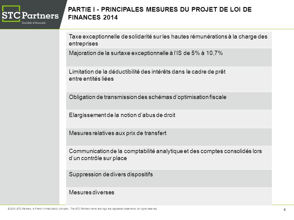 PARTIE I - PRINCIPALES MESURES DU PROJET DE LOI DE FINANCES 2014