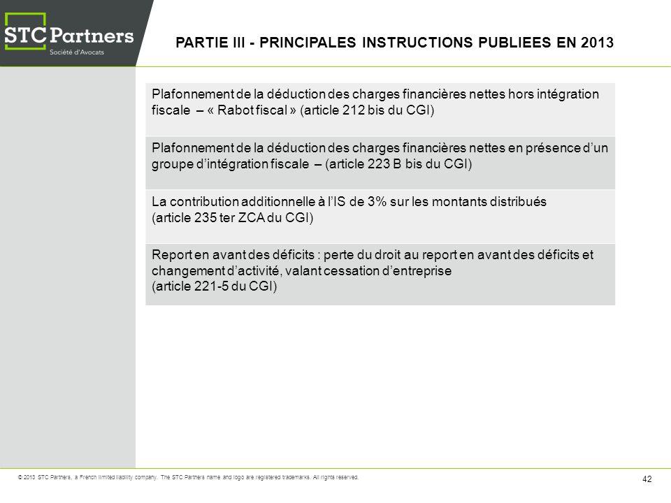 PARTIE III - PRINCIPALES INSTRUCTIONS PUBLIEES EN 2013