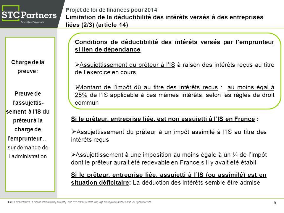 Projet de loi de finances pour 2014 Limitation de la déductibilité des intérêts versés à des entreprises liées (2/3) (article 14)