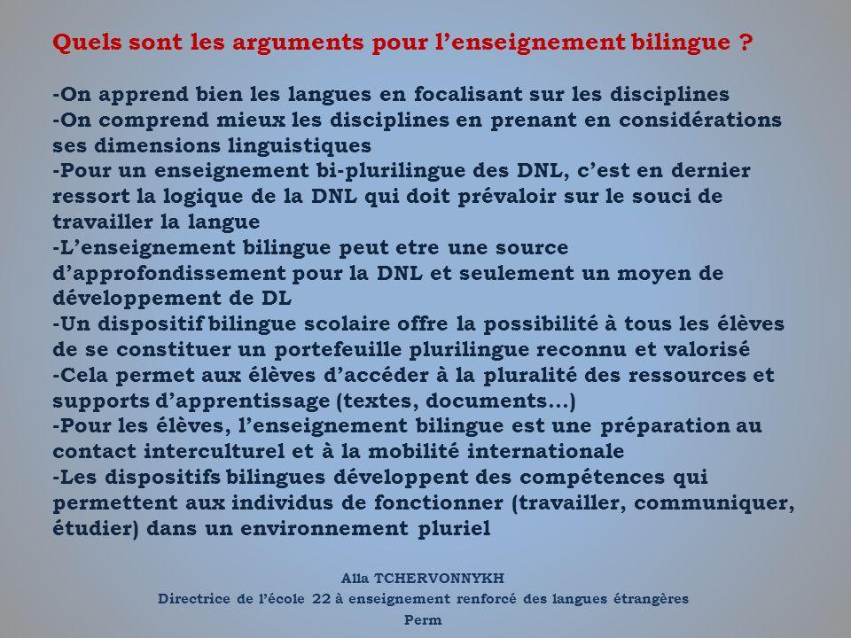 Quels sont les arguments pour l'enseignement bilingue