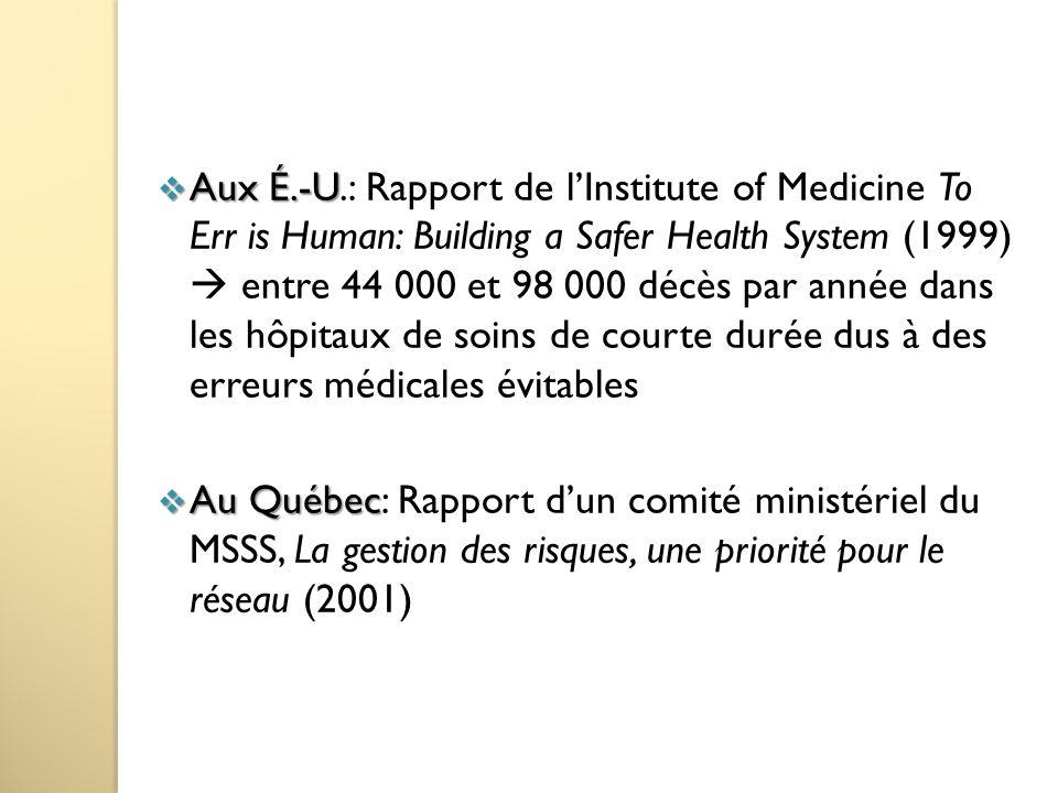 Aux É.-U.: Rapport de l'Institute of Medicine To Err is Human: Building a Safer Health System (1999)  entre 44 000 et 98 000 décès par année dans les hôpitaux de soins de courte durée dus à des erreurs médicales évitables