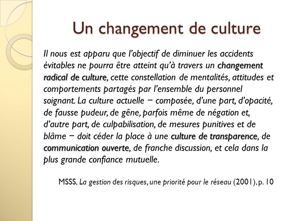 Un changement de culture