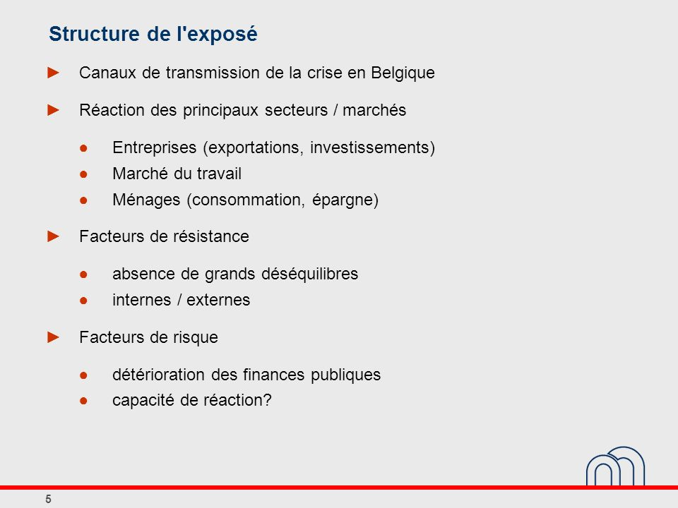 Structure de l exposé Canaux de transmission de la crise en Belgique