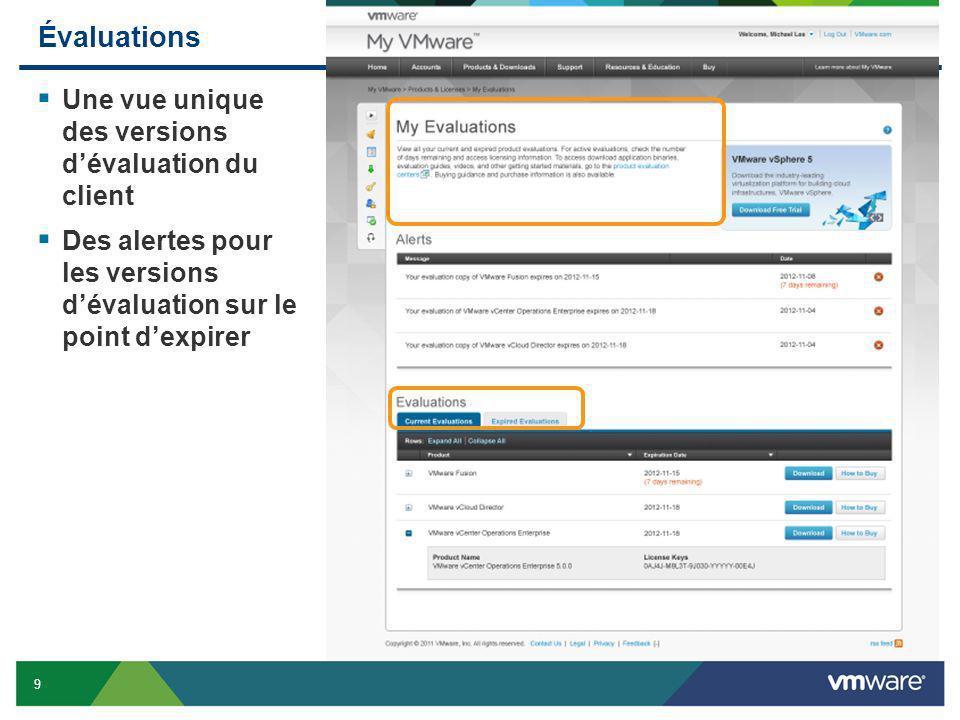 Évaluations Une vue unique des versions d'évaluation du client