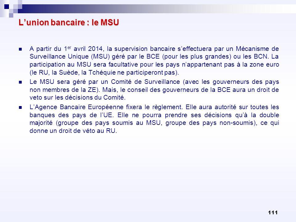 L'union bancaire : le MSU