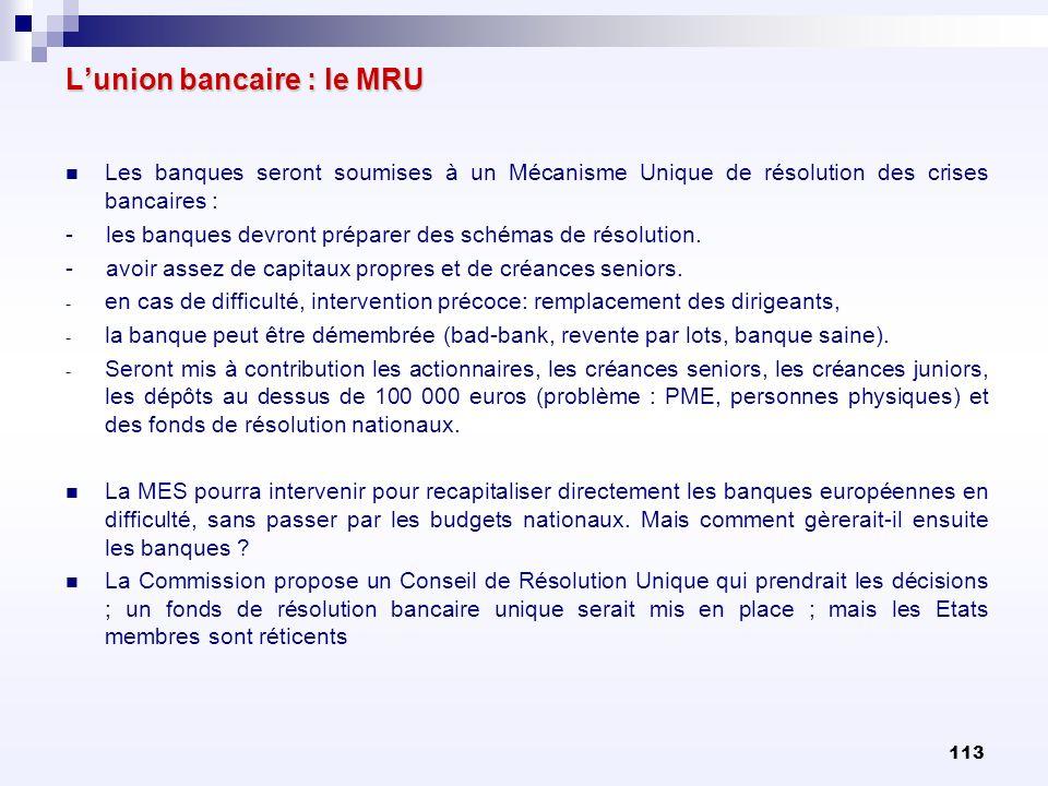 L'union bancaire : le MRU