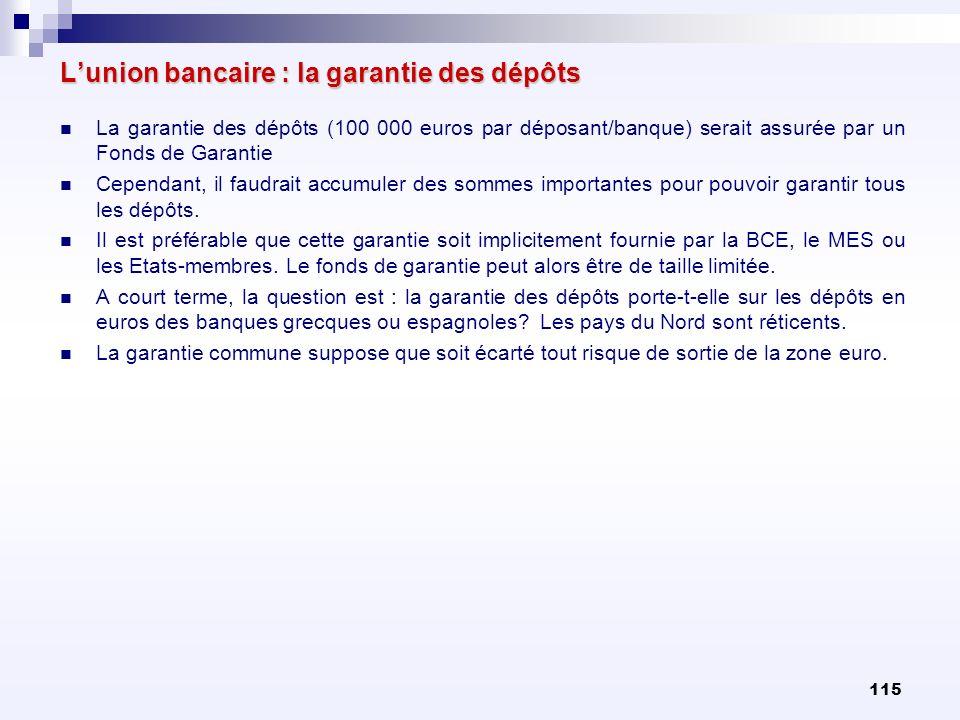 L'union bancaire : la garantie des dépôts