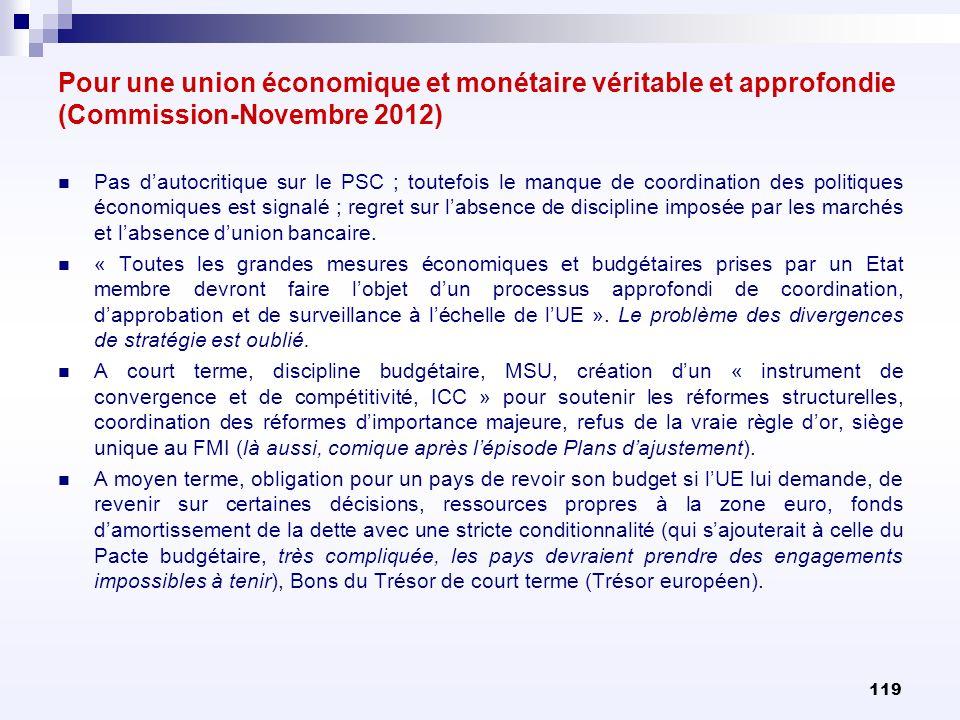 Pour une union économique et monétaire véritable et approfondie (Commission-Novembre 2012)