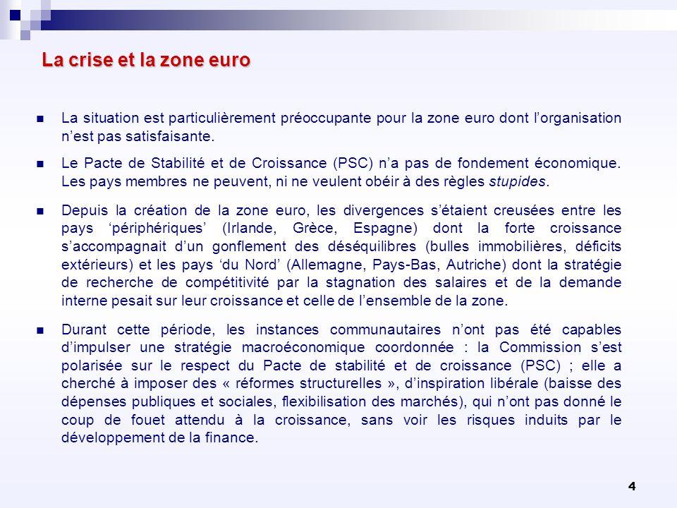 La crise et la zone euro La situation est particulièrement préoccupante pour la zone euro dont l'organisation n'est pas satisfaisante.