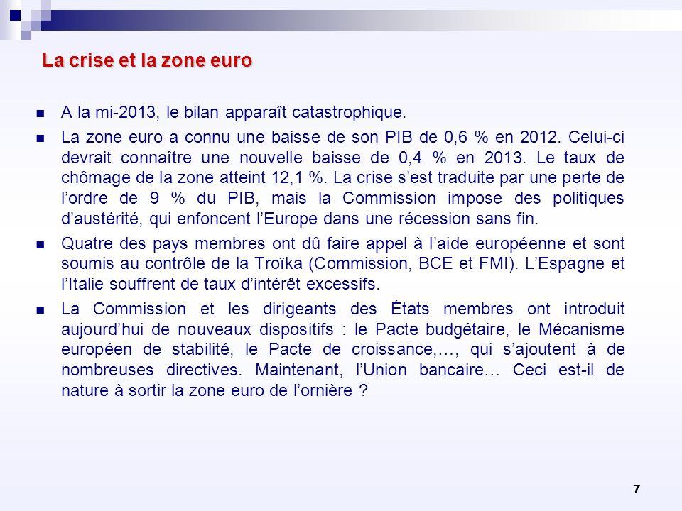 La crise et la zone euro A la mi-2013, le bilan apparaît catastrophique.