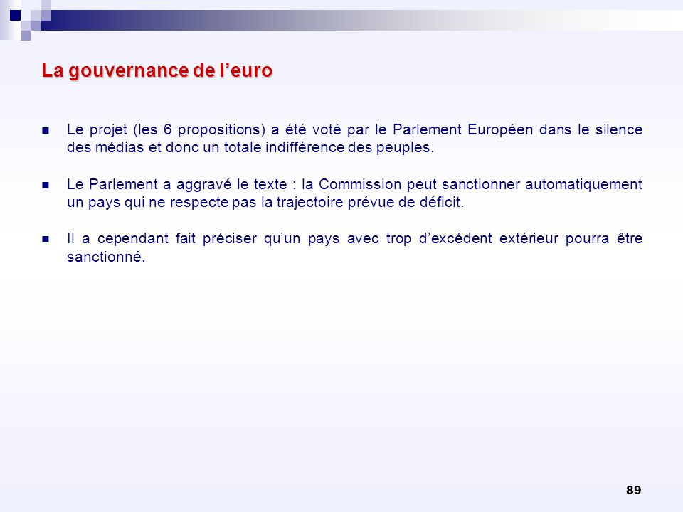 La gouvernance de l'euro