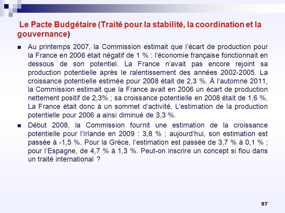 Le Pacte Budgétaire (Traité pour la stabilité, la coordination et la gouvernance)