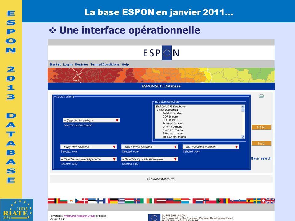 La base ESPON en janvier 2011…
