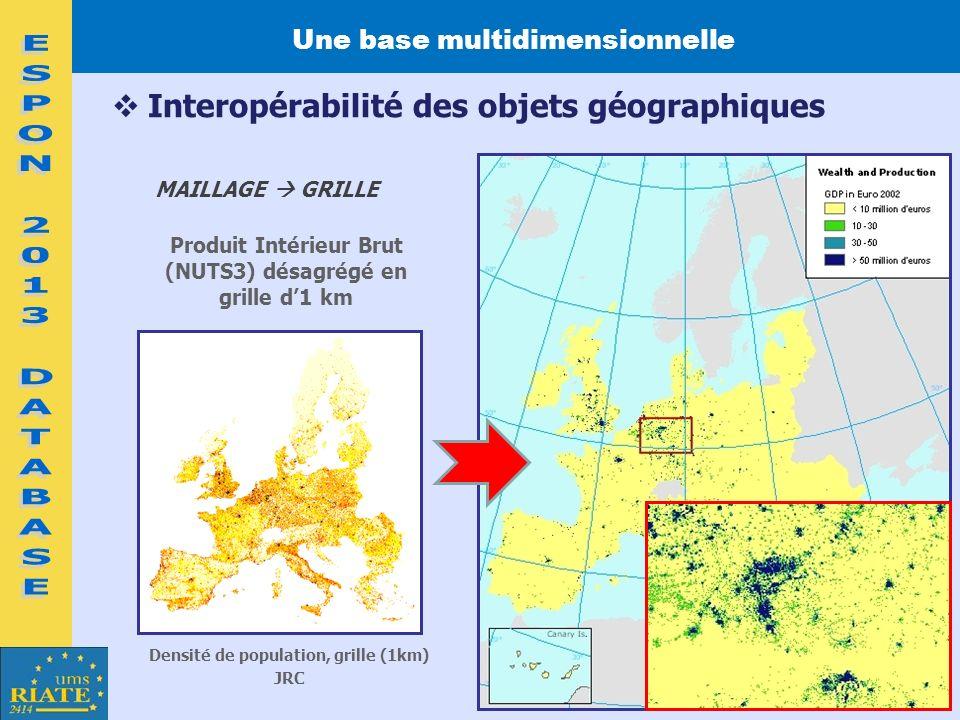 Une base multidimensionnelle Densité de population, grille (1km)