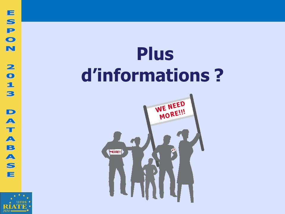 Plus d'informations ESPON 2013 DATABASE